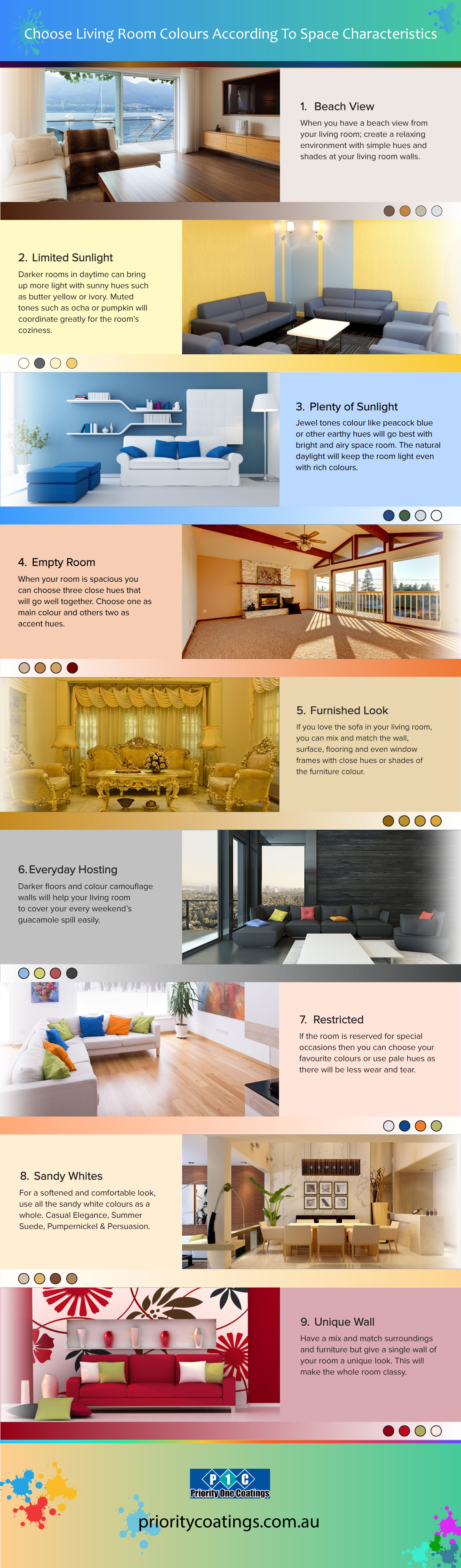Living room paiting tips infographic